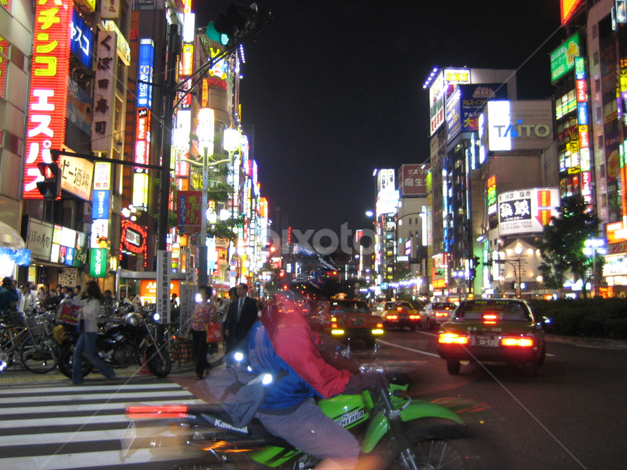 Tokyo Biker by Jacob Uriel - City,  Street & Park  Street Scenes ( japan, bike, tokyo, motorcycle, night, city )
