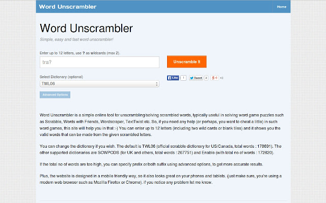 Word Unscrambler Chrome Web Store