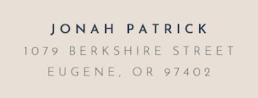 Jonah Patrick - Address Label template