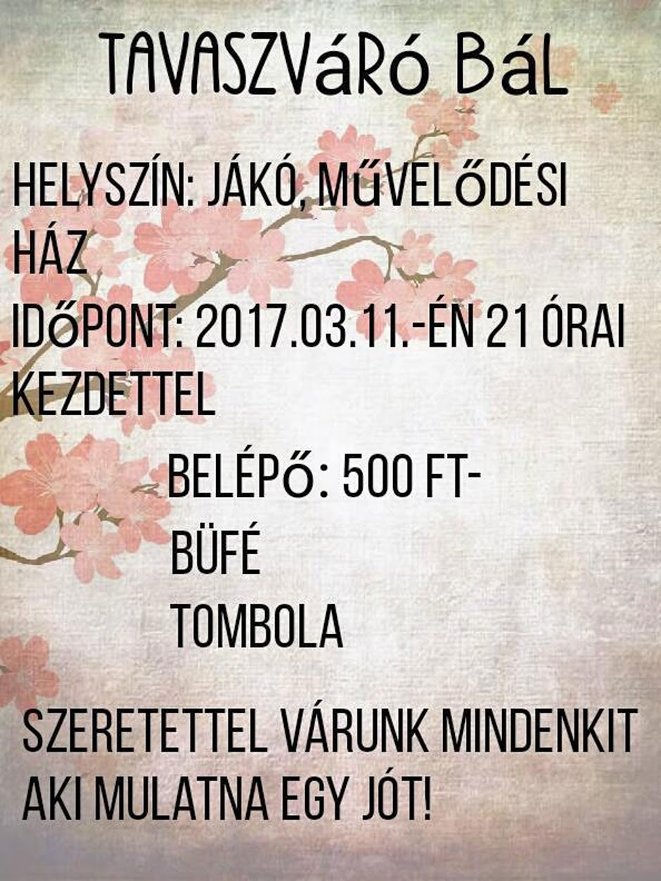 Tavaszváró bál plakát