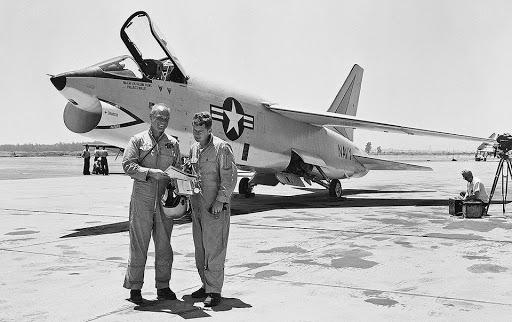 John Glenn with a F8 Crusader in 1957.