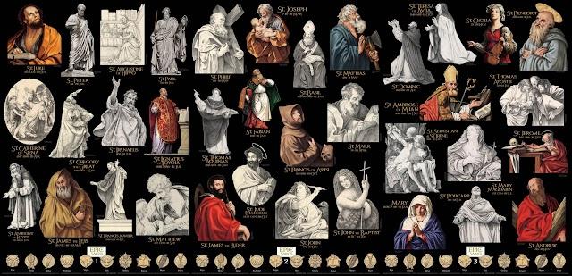 Distintos santos dibujados por el almeriense Juan Núñez.