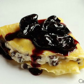 Crepes with Mascarpone, Chocolate Chips and Cherry Compote