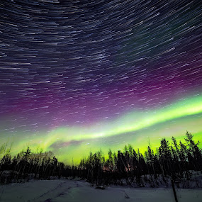 Star trails and Northern Lights by Heather Campbell - Landscapes Starscapes ( winter, stars, northern lights, aurora borealis, long exposure, night, star trails, landscape,  )