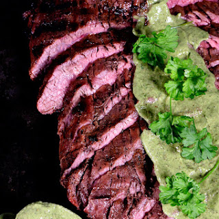 Grilled Flank Steak Recipe with Chimichurri.