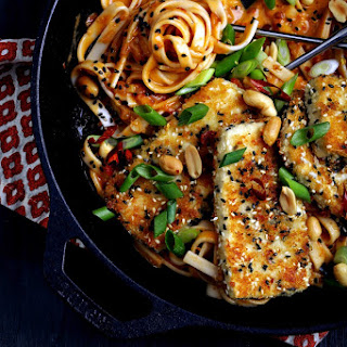 Fire Noodles with Crispy Tofu.