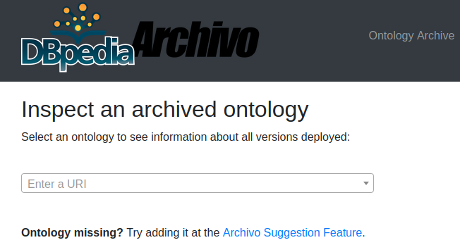 Search bar to inspect an archived ontology - DBpedia Archivo