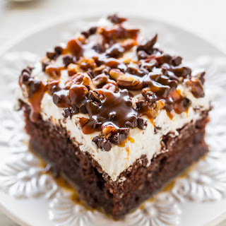 Turtle Chocolate Poke Cake.