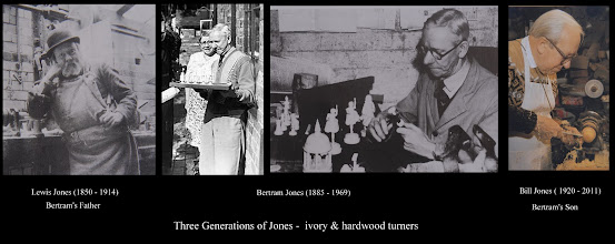 "Photo: The Jones family - 5-generations (three shown here) of 'bone grubbers' as ivory & hardwood turners were known.  Most of the images here are 'borrowed' from Bill Jones 2nd book - ""Further Notes from the Turning Shop"" (both books are well worth reading).   Although making chessmen was not their main line - as with most chess producers down the ages - the books illustrate turning techniques with a number of chessmen and contain Bill's thoughts etc in his own inimitable style, together with quotes from various letters from Bertram).  The left-centre image is of Bertram with an ornate set standing outside his home, Vine Cottage at Badsey, from which he worked (usually alone). The right-centre image shows Bertram with two sets - one a Staunton set considered further in the next image."