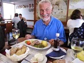 Photo: Andrew enjoying tuna fish and a glass of local wine at Restaurante Genuino