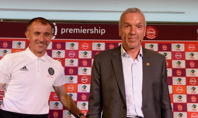 Orlando Pirates coach Milutin Sredojevic and Kaizer Chiefs coach Ernst Middendorp during the Soweto Derby Press Conference at PSL Offices on February 07, 2019 in Johannesburg, South Africa.