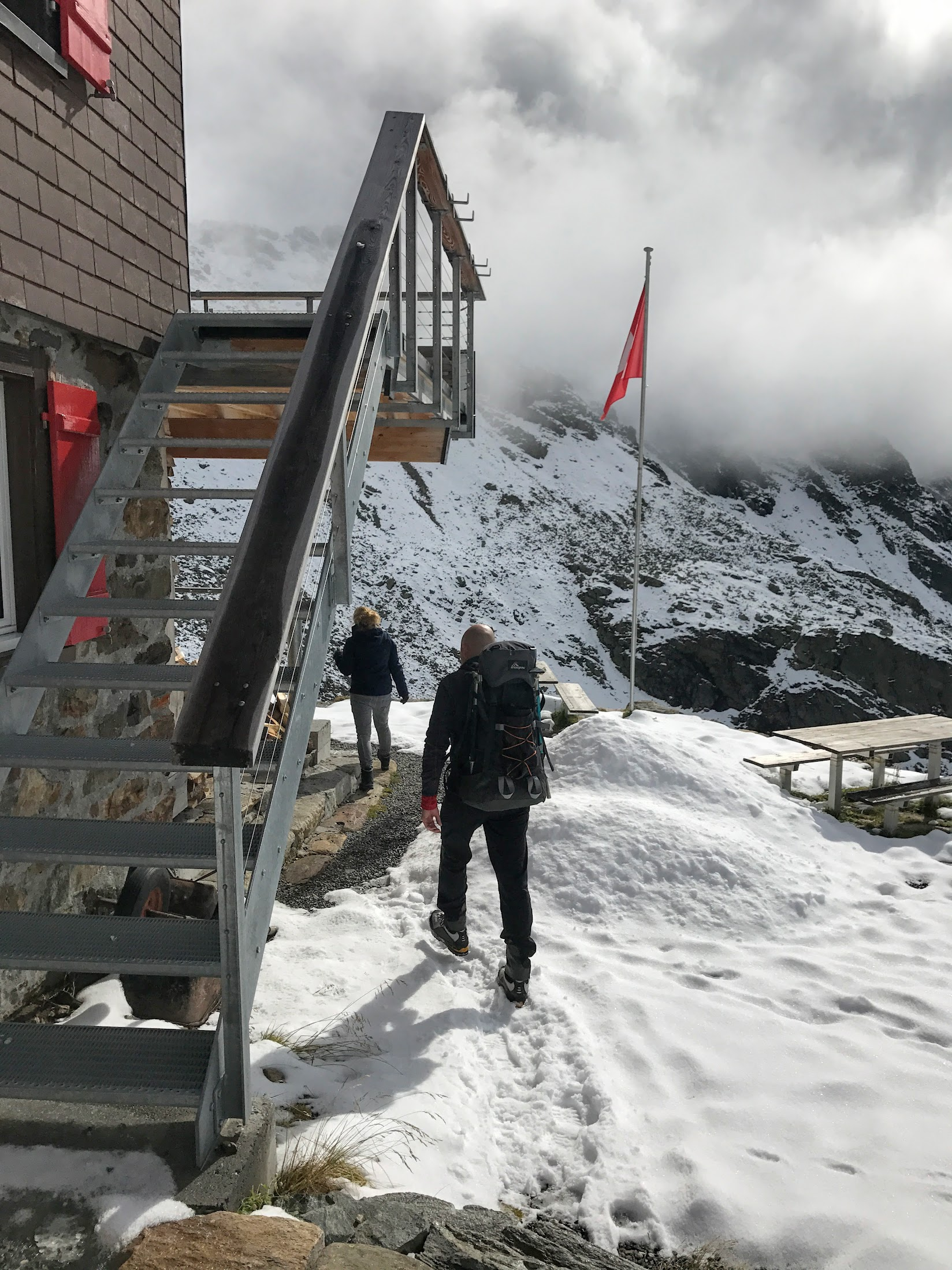Marijn arriving at the Silvretta Hut