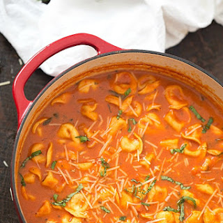 One-Pot Tomato and Basil Tortellini Soup.
