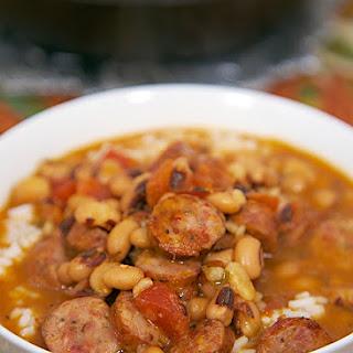 Black Eyed Pea and Smoked Sausage Soup.