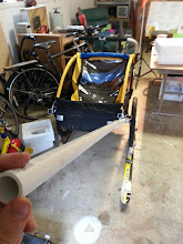 Photo: The PVC pipe coming from the trailer. We added a hole at the end to fit a metal ring where we added carabiner to attach to a backpack.