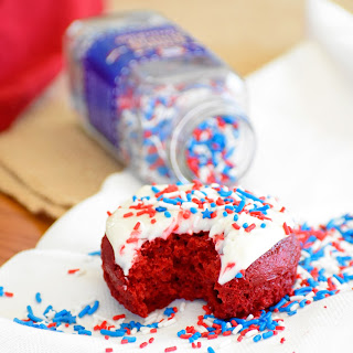 Easy Red Velvet Donuts with Cream Cheese Frosting.