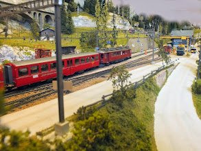Photo: 013 A local service train approaches the main station on the Bergellerbahn layout of John Laister .