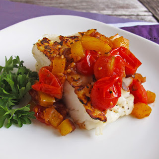 Seared Halibut with Bell Pepper Relish.