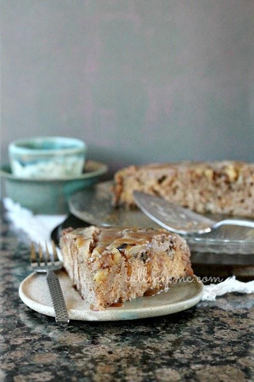 Upside Down Maple Pear Walnut Skillet Cake