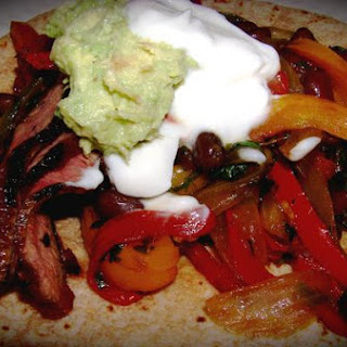 Lean Flank Steak and Three Color Pepper Fajitas