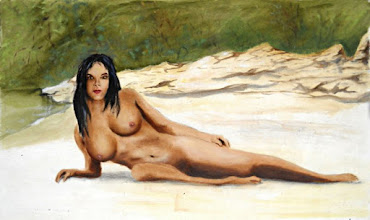 Photo: Nude Female Woman Sara Reclining Wiki Wachie Gulf Coast Florida  G Linsenmayer - Fine Art Nudes - Paintings and Drawings