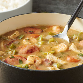 Sausage, Chicken, and Shrimp Gumbo.