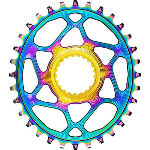 Absolute Black Oval Direct Mount Chainring - Shimano, 3mm Offset, Hyperglide+, PVD Rainbow