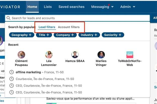 linkedin sales navigator lead filter