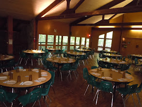 Photo: Tsani Dining Hall  Tables set for meal.