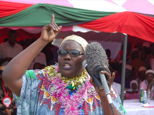 Tana River Woman Representative Rehema Hassan speaks in Madogo, Bura constituency, at a past event.