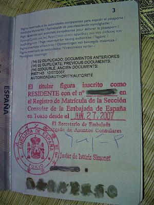 Pasaporte inscrito como residente en la Embajada de España en Japón