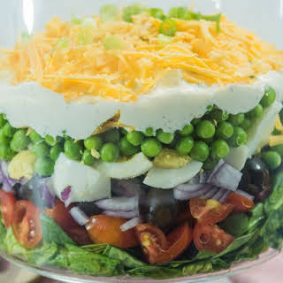 Simple Make Ahead 7 Layer Pea Salad.