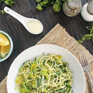 Spring Zucchini Pasta with Peas, Leeks & Watercress Recipe