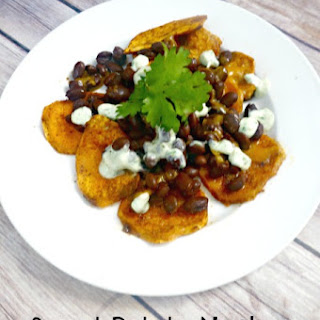 Sweet Potato Nachos with Avocado Cilantro Cream (Gluten-Free)