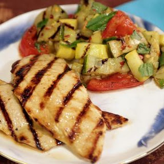 Lemon-Rosemary Grilled Chicken with Charred Vegetable Salad.