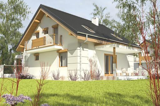 projekt Nowinka z garażem i wiatą A1