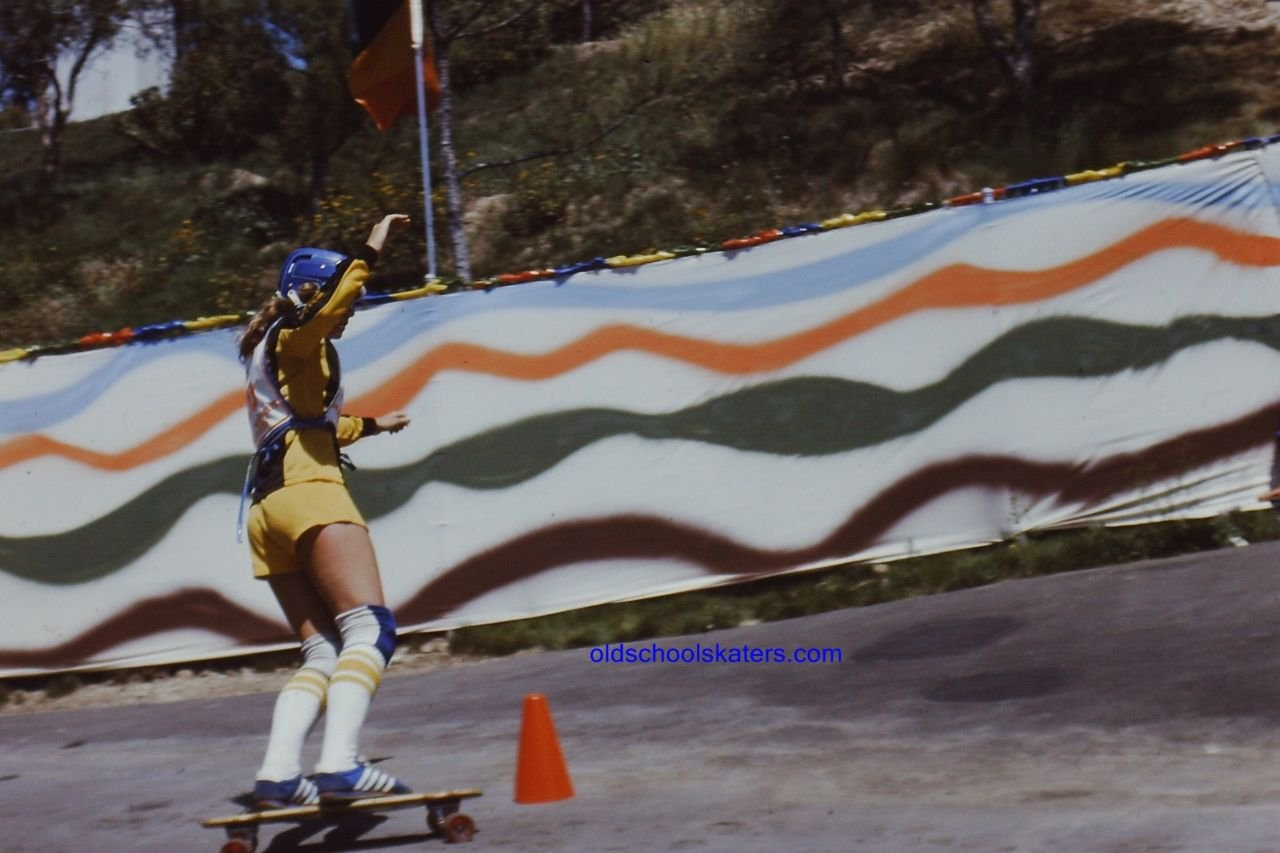 Photo: Kathy making her way through the cones at the Magic Mountain Contest