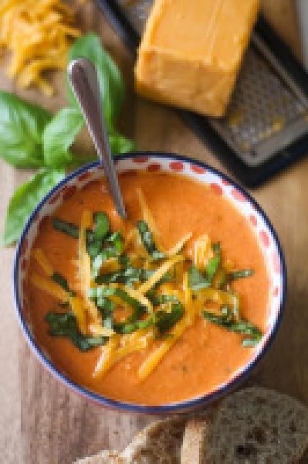 Tomato, Basil, & Cheddar Soup Recipe