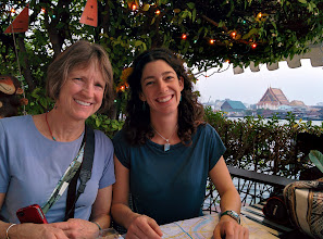 Photo: Laurie and Adrienne plot our next move at a terrace restaurant overlooking the Chao Phraya river. Nexus 5 in HDR+ mode.