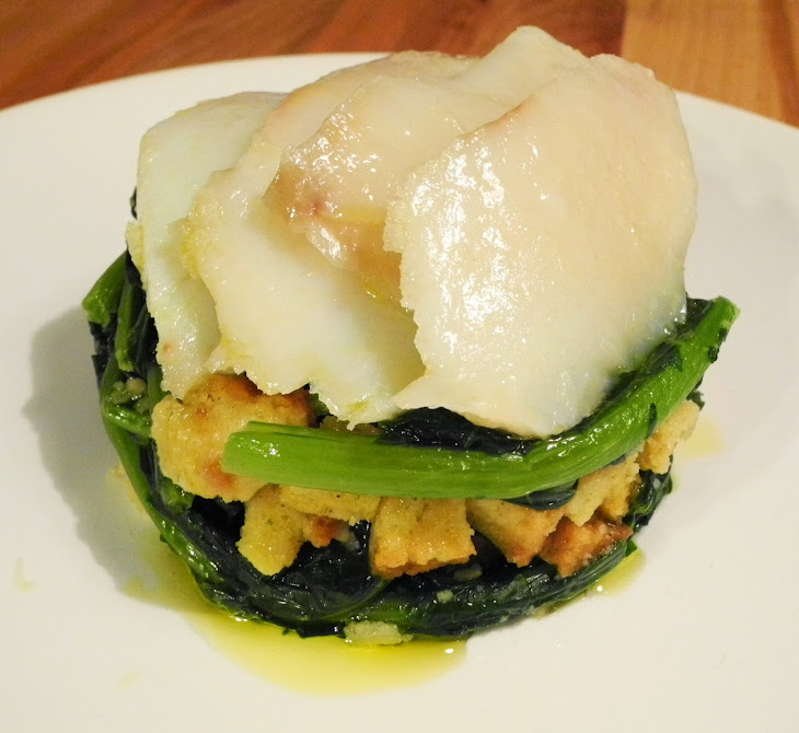 Confit With Cod Migas and Turnip greens