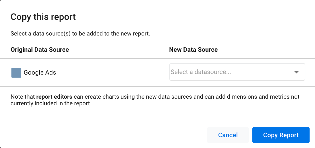 Supermetrics new data source connector view