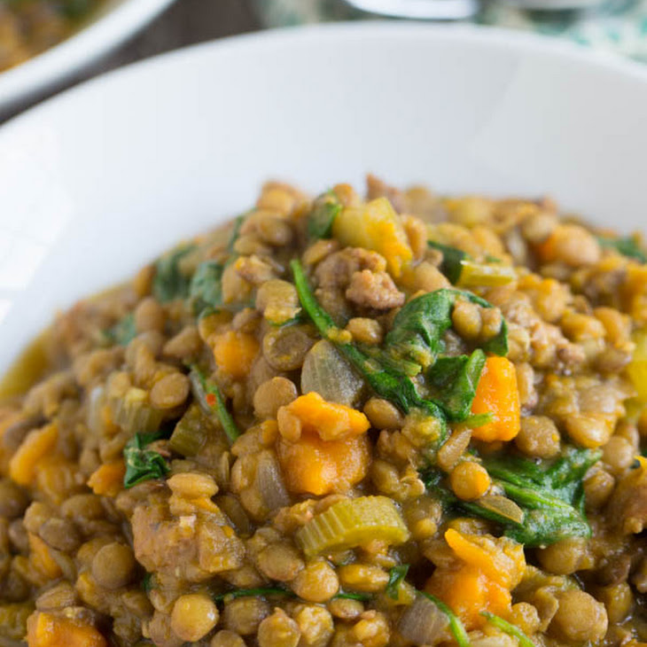 Slow Cooker Lentil and Spicy Sausage Stew Recipe