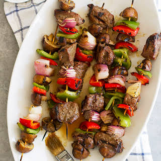 Grilled Steak and Mushroom Kabobs.
