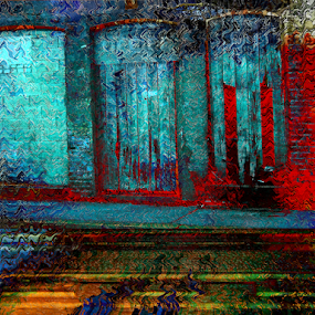Old Building Burning by Edward Gold - Digital Art Places ( red, tan, digital photography, blue, burning building, old building, fire effect, digital art,  )