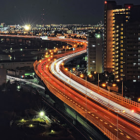 Arteries and veins by Hiro Ytwo - City,  Street & Park  Street Scenes ( street, night, trails, light, city, bridge )