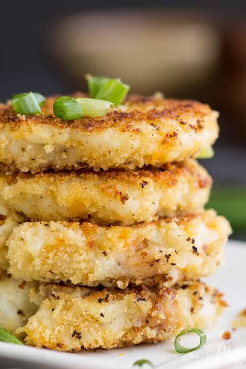 """Leftover Loaded Mashed Potato Pancakes """"Crispy panko crusted Leftover Loaded Mashed Potato..."""