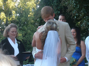 Photo: Ceremony in progress - First Kiss - Mary's at Falls Cottage - Greenville, SC - 9/10 - http://WeddingWoman.net