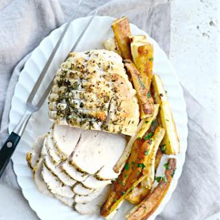 One-Pan Herb Roasted Turkey Breast + Parsnips Wedges