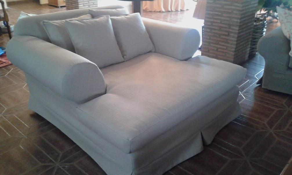Funda a medida para módulo de sofá chaise-longue.