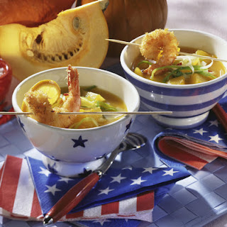Coconut Butternut Squash Soup with Shrimp.